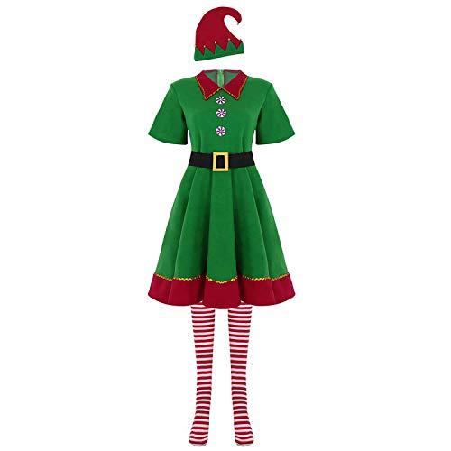 ZILucky Süßes Weihnachten Outfit Kostüm Unisex Elfen Kostüm Weihnachtself Weihnachtsmann Cosplay Karneval Fasching Halloween Party (M, Damen)