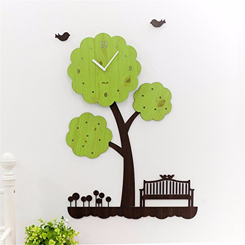 Y-aime.creativo della parete orologio soggiorno semplice camera da letto moderna muto orologio da parete di legno personalizzata arte bambino (18 pollici)