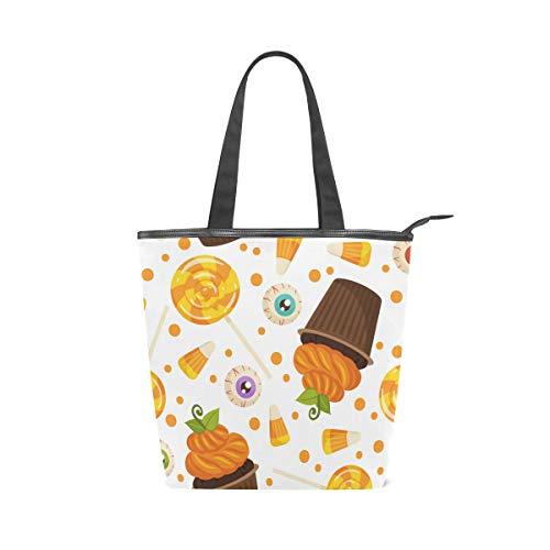 Jeansame Einkaufstasche aus Segeltuch für Damen, Shopper, Tragegriff, Schultertaschen mit Reißverschluss, Kürbisaugen, Kuchen, Halloween, Erntedankfest, Herbst