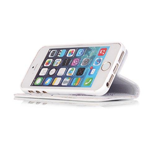 Roreikes Schutzhülle für Apple iPhone SE 5 5S, Campanula Muster Prägung Ledertasche Slim Retro PU Leder Bookstyle Handyhülle Tasche Flip Wallet Case mit Strap Portable Handytasche Anti-Scratch Shell C Weiß+Lila