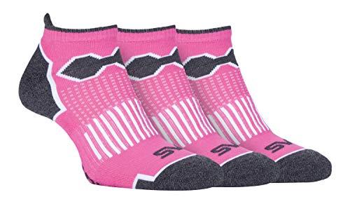 3er Pack Damen Bunt Gepolstert Kurz Sneaker Socken/Füßlinge in Pink und Schwarz für Sport (37/42, SBLS017PIN) (Gepolsterte Socken No-show)