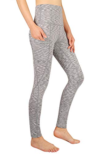 Lantch Damen Leggings Hohe Taille Yoga Fitnesshose Lange Sporthose mit Tasche(cg,L) (Plus Size Damen Kompression Hose)