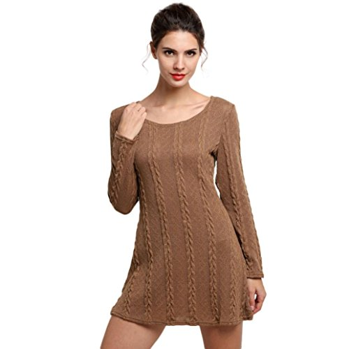 Bekleidung Damen Kleider Yesmile Frauen Damen Langarm Crewneck Jumper dünne beiläufige gestrickte Pullover Minikleid (S, Braun) (Rock Reisen, Stricken)