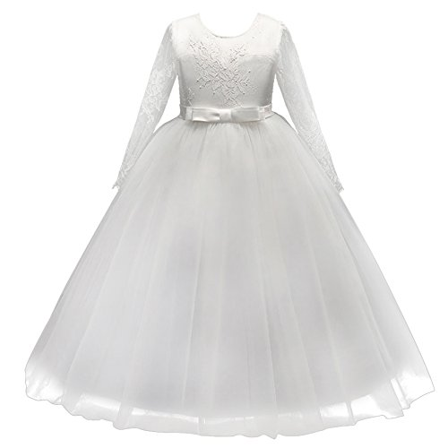 Kids Flower Girls Lace Tulle Wedding Bridesmaid Communion Party Bowknot Dress Formal Pageant Carnival Birthday Prom Dance Ball Gown Maxi Long Sleeve Dress White 11-12 Years