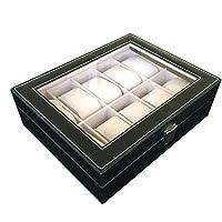 Men's jewelry box High-grade 10 Compartment leather watch box organizer case black