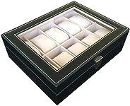 Men's jewelry box High-grade 10 Compartment leather watch box organizer case b