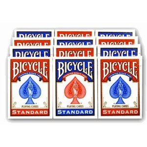 Cartouche de 12 jeux de cartes Bicycle format poker (6 bleus + 6 rouges)