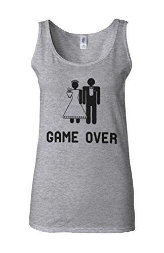 Game Over Wedding Marriage Joke Novelty White Femme Women Tricot de Corps Tank Top Vest Gris Sportif