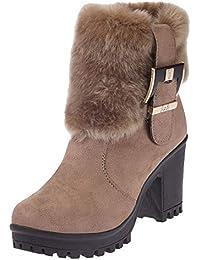Botas,Botines cuña para Mujer Otoño Invierno 2018 Moda ZARLLE mujeres de felpa Boots tubo corto de espesor con hebilla de arranque en caliente Casual Calzado Dama Botas clásicas Tallas Grandes