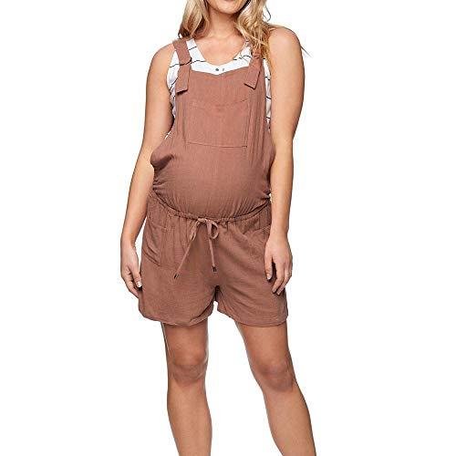Doublehero Umstandsjeans Cargo Shorts Kurze Hose Strampler Overall Umstandsshorts Casual Maternity Shorts Umstandsmode Hose Locker Hohe Taille Mode Freizeithose Schwangerschaftshose (XXL, Kaffee) -