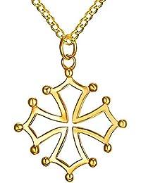 BOBIJOO Jewelry - Pendentif Collier Homme Croix Occitane du Languedoc de  Toulouse Acier Plaqué Or 451eb0a4ea9