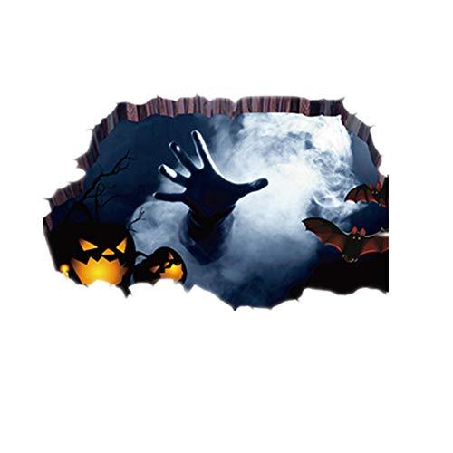DEELIN Halloween wandaufkleber 3D Happy Halloween Haushalt Zimmer Boden Wandaufkleber Wandbild Dekor Aufkleber Abnehmbar - Happy Kostüm Gruselig