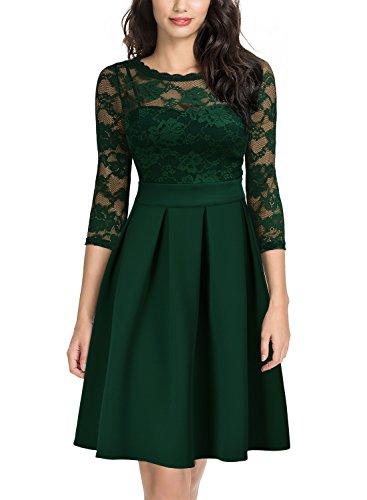 Miusol Damen Elegant Cocktailkleid Spitzen 3/4 Arm Vintage Kleid Brautjungfer 50er Jahr Abendkleid...
