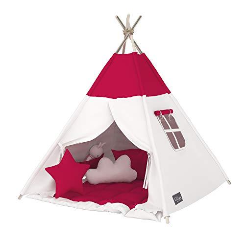 Elfique New Tipi - Tienda de campaña para niños, Doble Capa, Acolchada, Color Blanco y Rosa (Tienda con Techo)