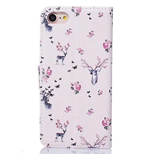"""Igrelem® - Custodia per iPhone 7 da 4,7"""", con protezione per lo schermo in vetro temperato in omaggio, protezione in pelle PU, struttura a portafoglio, motivo: fiori, farfalla, cerco, orso, piuma, dec Deer, Pink"""
