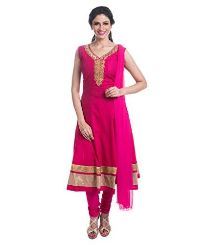 Cynthia's Fashion, CFK263_COT_AK_SS, Solid Pink Color Salwar Suit, Cotton Zardosi Work Emboridered...