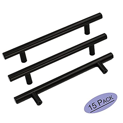 Goldenwarm 15 X Black NICKEL T Bar Kitchen Cabinet Door Pull Drawer Wardrobe Cupboard Handles Stainless Steel 128mm Hole
