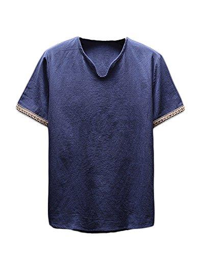 Herren Leinen Kurzarm T-Shirt Freizeithosen Leinenhose Baggy Luftige Bequeme Strand Lässig Cropped Hosen Navy M