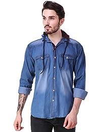 Lafantar Men's Slim Fit Denim Shirt with Detachable Hood (dms82kk, Blue)