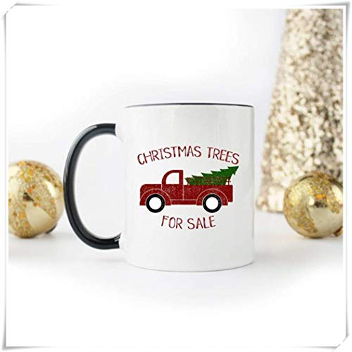 TK.DILIGARM Christmas Mug, Christmas Trees for Sale Mug, Vintage Red Christmas Truck with Christmas Tree, Gift Mug, 11oz Ceramic Coffee Cup, High Gloss(Black)
