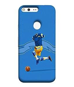 Fuson Designer Back Case Cover for Google Pixel XL (Football Club Blue Yellow Dress Faceless )
