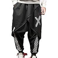 Hombres Falso Dos Piezas Harem Pantalones Hip-Hop Estilo Pantalones Holgados Confortables Pantalones con Cordón