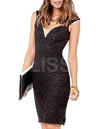 mywy - Vestito donna abito pizzo elegante party cerimonia abito sera  vestitino tubino nero d91000fea81