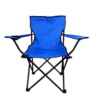 AZZ Deluxe Strong Steel Metal Frame Fabric Padded Folding Office Computer Back Rest Chair (Color : Blue)
