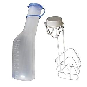 Urinflaschen-Set: 1x Urinflasche 1Ltr. für Männer + 1x Urinflaschen Halter Urinflaschenhalter mit Deckel 1 Stück (=1Set) Original Tiga-Med Qualität!