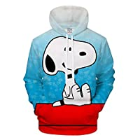 Xdai Unisex Hooded Pullover Hoody Tops 3D Print Sweatshirts Long Sleeve Heavyweight Slim Gym Jacket Sportswear Outdoor Plus Waterproof Hooded Raincoat Windproof Snoopy