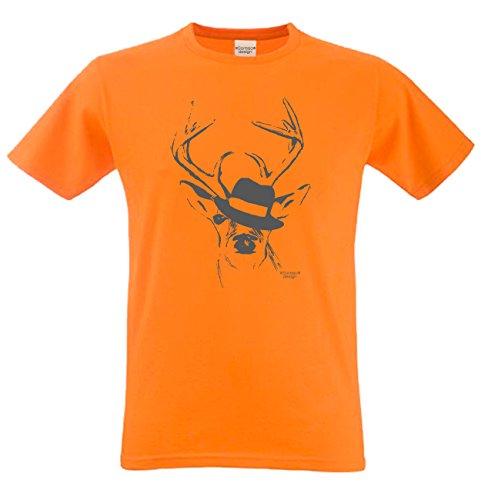 Shirt T-Shirt Geschenkidee Geburtstagsgeschenk Hirsch mit Hut Bierzelt Oktober-Fest kurzarm Farbe: orange Orange