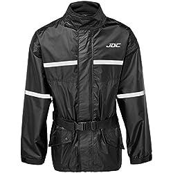 JDC Chaqueta De Lluvia Para Moto Impermeable De Alta Visibilidad - SHIELD - Negro - XL