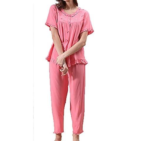 YUYU Frauen Baumwolle Komfortable Kurze Ärmel Nachthemd Hose Weiche Entspannt Nachthemd geringes Gewicht Um den Hals Pyjamas , watermelon red , (Baby In Watermelon Kostüm)