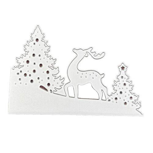 form Karbonstahl Baum Hirsch Muster Stanzform Prägung Schablone für DIY Weihnachten Kunst Handwerk Karte Dekoration ()
