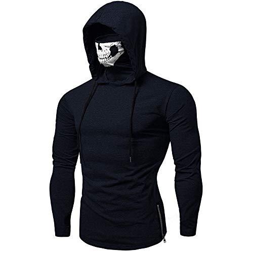 Yowablo Kapuzenpullover Herren Maske Totenkopf Reine Farbe Pullover Langarmshirts Bluse (XXL,4- Marine)