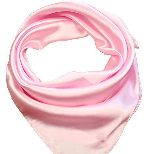 RongShi Seide Square Schal Damenmode Schals Leichte Kleine Einfarbig 22 In (Rosa) (Usher Kleid)