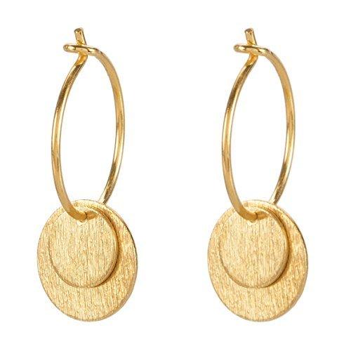 Pernille Corydon Damen Creolen Gold DOUBLE COIN 2 Plättchen 925 silber vergoldet - E002g (Gold-flache Creolen)