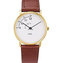Projekte 7408Unisex Braun Lederband Band weiß Zifferblatt Uhr