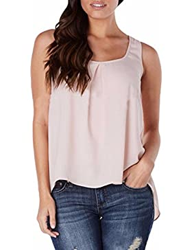 ZANZEA Donna Senza Maniche Chiffon Estate Lose Party Club Camicetta Camicia Tanktops