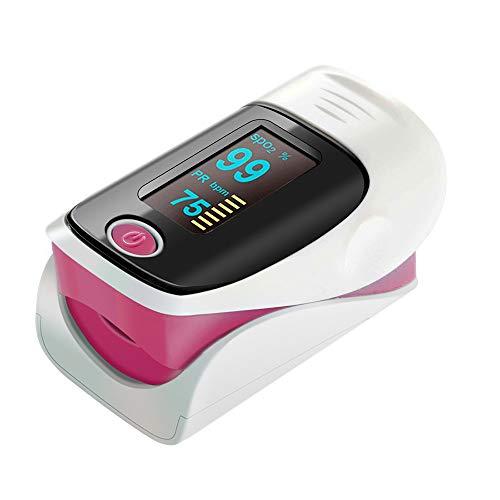 ZDHF Fingerclip Pulsoximeter Professionelles tragbares Blutsauerstoffsättigungsmessgerät Elektronische Digitale Herzfrequenz Pulsfrequenz mit Alarmfunktion,Pink