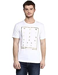 Wear Your Mind White Cotton Round-Neck Printed T-shirt For Men TSS181.1