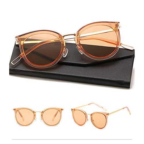HQMGLASSES 2019 Einfache Stil Damen polarisierte Sonnenbrille Süßigkeiten transparent transparent Promi getönten Brille und Fall, 100% UV400 Schutz für Freizeit/Urlaub,TransparentOrangeFrame