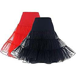 Dresstells Mujeres Cancan 50s Retro Rockabilly Enaguas Miriñaques Faldas 2-Pack(Black+Red) S
