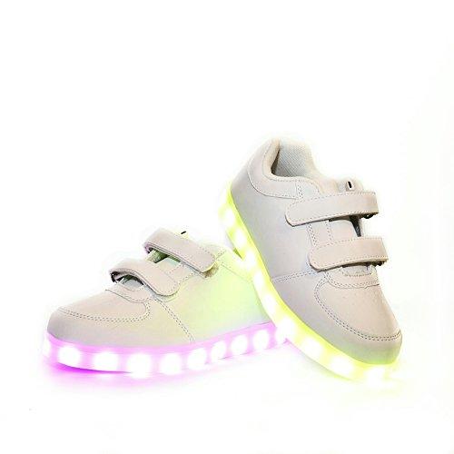 Envio 24 Horas Usay Like Zapatillas LED con 7 Colores Luces Carga USB Blanco Unisex Niños Talla 25 hasta 34 Envio Desde España (EU27, Blanco)
