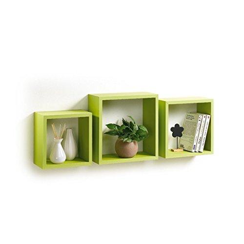 Modul'home 6ran789bc - mensole a cubo, in mdf, 11,8 x 30 x 30 cm, pannello mdf, verde anice, 3 taglie 23 cm/26,5 cm/30 cm