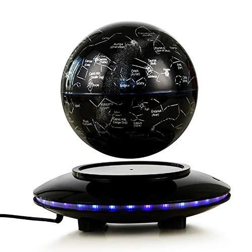 BAIVIN Iluminado Globo suspendido Mapa del Mundo Maglev Luces de LED Mute Rotación Bola Estrellada Decoración del hogar Educación de los niños,Black,20cm