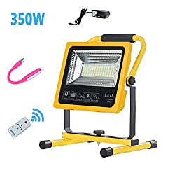 350W Portable Rechargeable Cordless Work Light, 8000 Lumens Led Floodlight Outdoor Waterproof, 6500K Work Site Lamp with Remote Control, Built-In Battery 10400 mAh, USB Charging, Outdoor Indoor Use