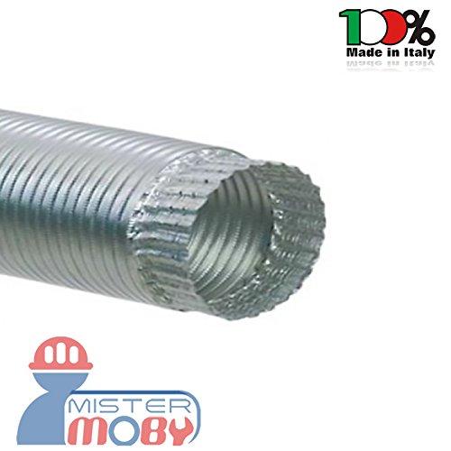 mistermoby Schlauch Aluminium ausziehbar bis 3Meter für Öfen, durchgeführt, Abzugshauben oder anderen Durchmesser 10Zentimeter
