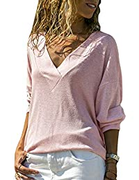 Yacun Jersey Suéter De Manga Larga para Mujer Blusa Camisa Casual Tops 007ad919e4e8