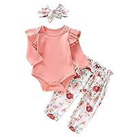 Newborn Girl 3 Pieces Cotton Outfit Set Ruffle Long Sleeve Romper Bodysuit + Bow Floral Pants + Headband